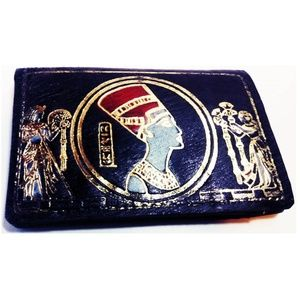 Vintage Graphic Egyptian Leather Fold Wallet